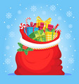 santa claus gifts in bag christmas presents sack vector image vector image
