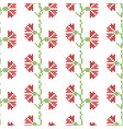 seamless cross stitches flowers pattern on white vector image