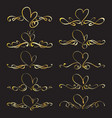 set heart decorative calligraphic elements vector image