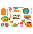 set of isolated vintage kitchen utensils part 1 vector image vector image