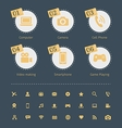 Set of social media icons in circle with paper vector image vector image