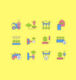 set simple line icons agriculture technology vector image