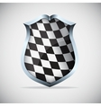 Shield with checkered flag vector image