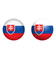slovakia flag under 3d dome button and on glossy vector image vector image