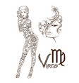 stylized zodiac sign fish virgo vector image vector image
