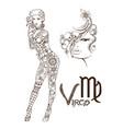 stylized zodiac sign of fish virgo vector image