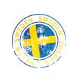 sweden sign vintage grunge imprint with flag on vector image vector image