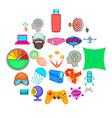 virtual icons set cartoon style vector image vector image