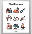 wedding icons linecolor pack vector image vector image