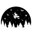 witch flying on a broomstick at night black and vector image vector image