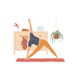 woman performs yoga exercises bending vector image vector image
