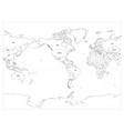 world map country border outline on white vector image vector image