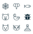 zoo icons set with snake duck spider web and vector image