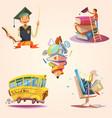 education cartoon retro set vector image