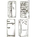set of four hand drawn fridges vector image