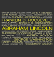 The tag cloud showing the names of all presidents vector image