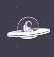 astronaut flies in flying saucer vector image vector image