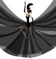 ballerina in black vector image vector image