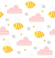 bee and clouds seamless pattern background vector image vector image
