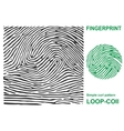 Black fingerprint shape secure identification ID vector image