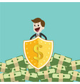 businessman protecting money with shield and sword vector image vector image