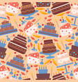 cakes seamless pattern icons vector image vector image