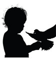 child happy silhouette with bird vector image vector image