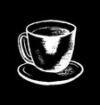 coffee cup white chalk on black chalkboard vector image vector image