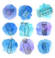 doodle set of medicines vector image