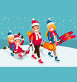 family snow skiing people isometric cartoon vector image vector image