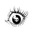 female eye with a skull on a white background vector image vector image
