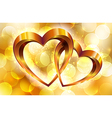 Gold composition with glossy hearts vector image vector image