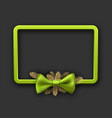 grey christmas background with green bow vector image vector image