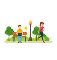 guy behind laptop in park girl engaged athletics vector image