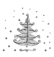 Hand Drawn Beautiful christmas tree vector image