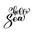 hand drawn quote - hello sea summer motivational vector image vector image