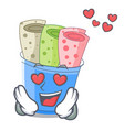 in love ice cream rolls at cups cartoon vector image vector image