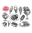 ink sketch collection ice cream vector image vector image
