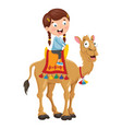 kid riding camel vector image