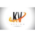 kv k v letter logo with fire flames design and vector image vector image