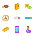 Language learning icons set cartoon style vector image vector image