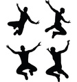 man silhouette in jump pose vector image vector image