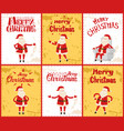 merry christmas with santa posing in images vector image