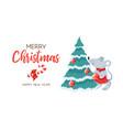 merry christmas xmas postcard with fir-tree and vector image vector image