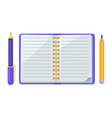 pen and pencil notebook icons vector image