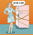 pop art young woman on diet with locked fridge vector image vector image