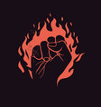 raised fist on red fire fight club or protest vector image vector image