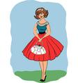 retro 50's girl vector image