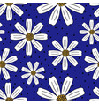 seamless summer hand-drawn chamomile pattern vector image vector image