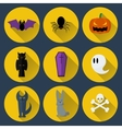set flat design halloween icons vector image